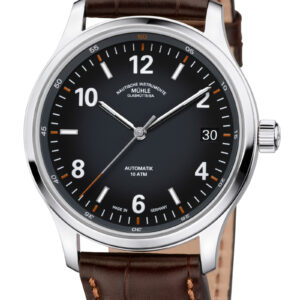 LUNOVA DATE luxury wristwatch with brown leather band.