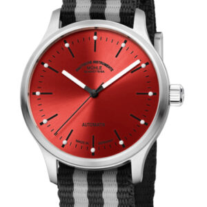 Striking high end watch with bold red face and black & white accents.