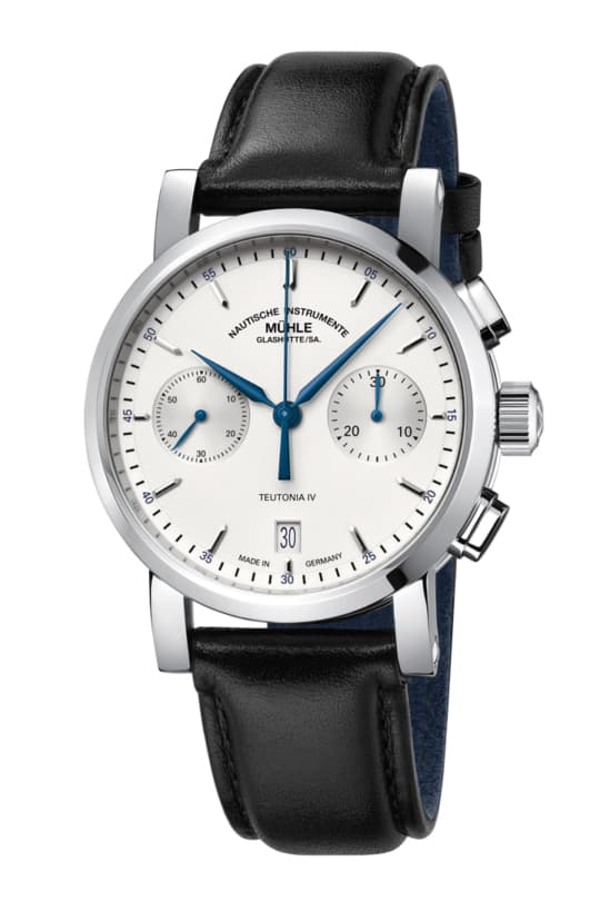 high end watch with white face and blue accents.
