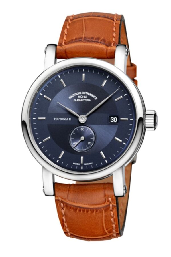 blue dial leather strap.